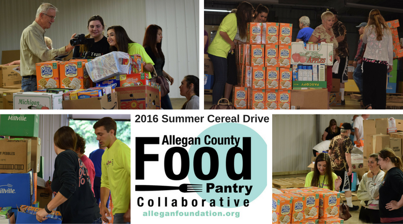 2016 Summer Cereal Drive by the ACCF TAG Team for the Allegan County Food Pantry Collaborative