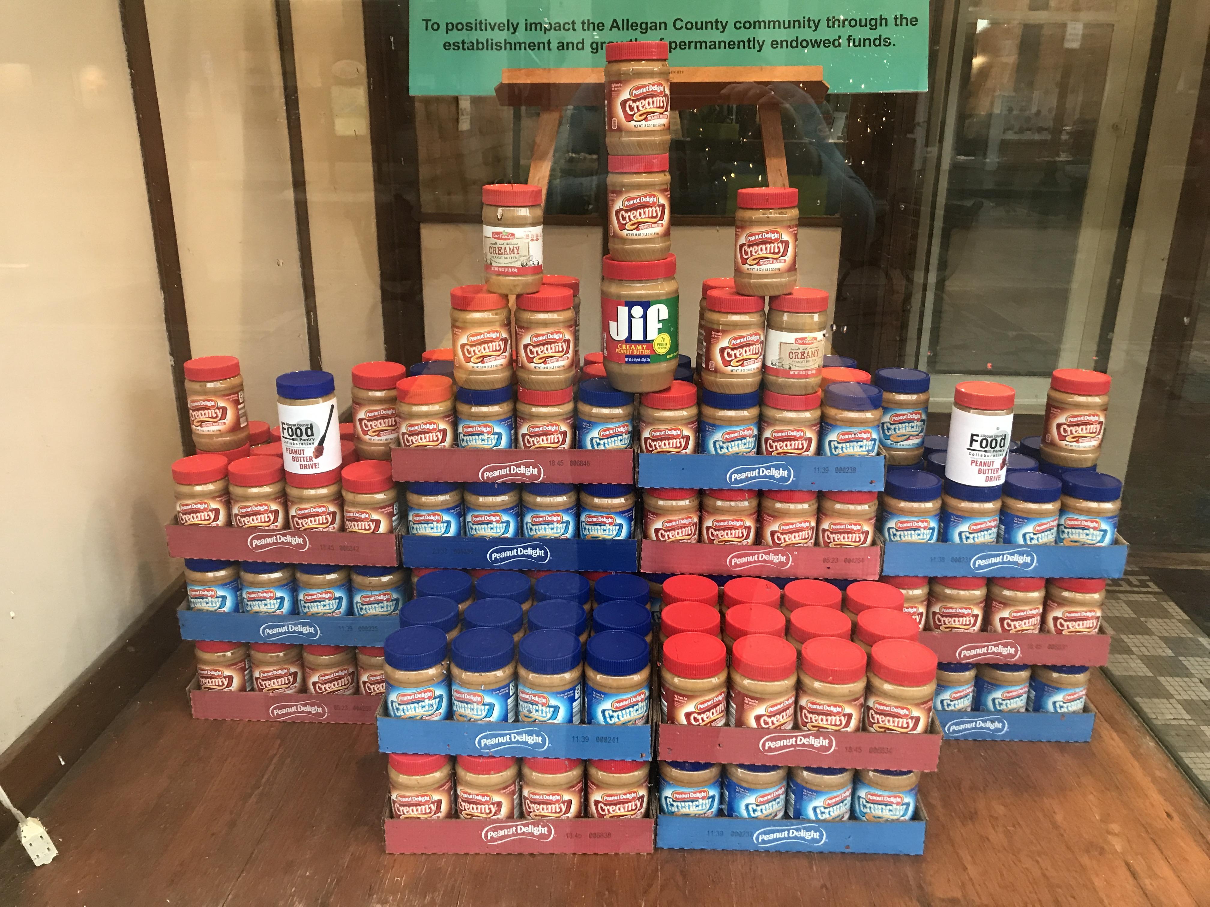 peanut butter jar tower