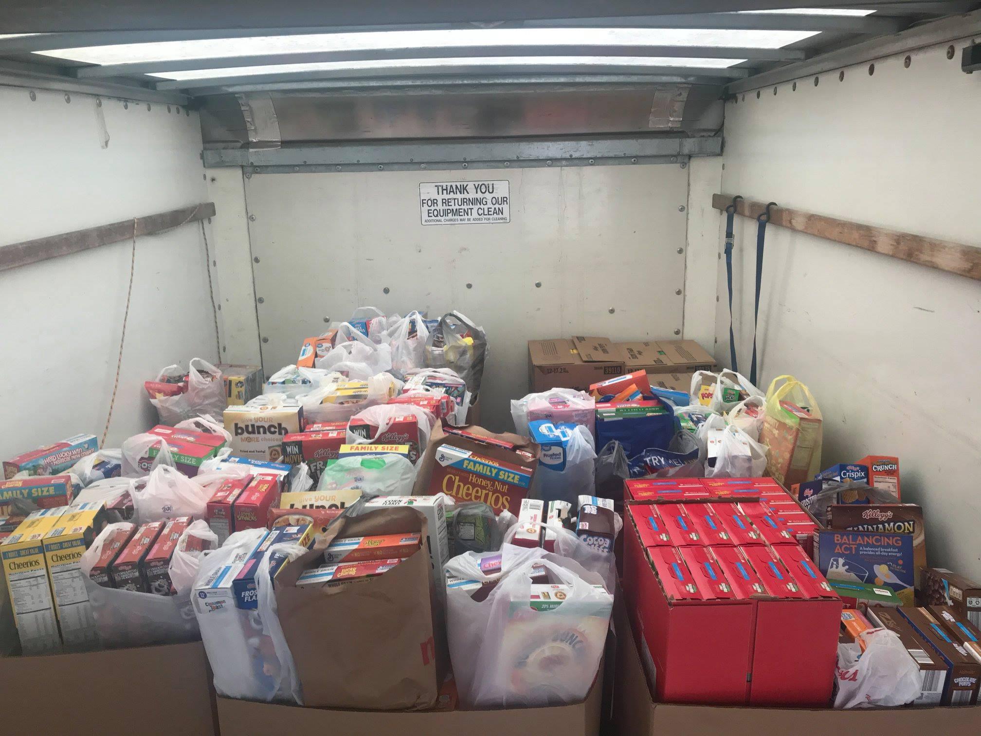 truck full of donations